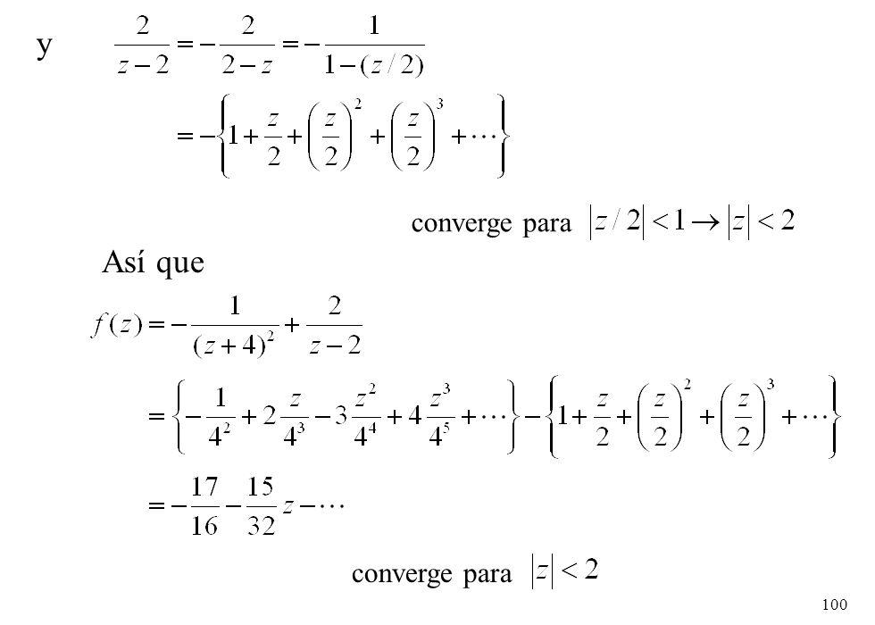 y converge para Así que converge para