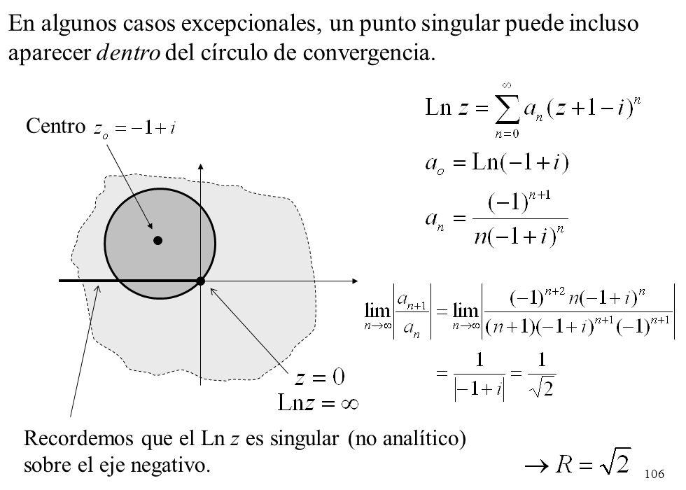 En algunos casos excepcionales, un punto singular puede incluso aparecer dentro del círculo de convergencia.