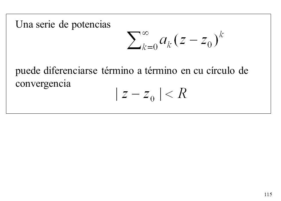 Una serie de potencias puede diferenciarse término a término en cu círculo de convergencia