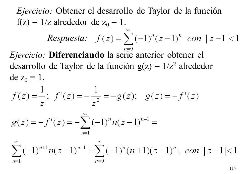 Ejercicio: Obtener el desarrollo de Taylor de la función