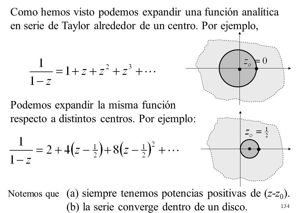 Como hemos visto podemos expandir una función analítica