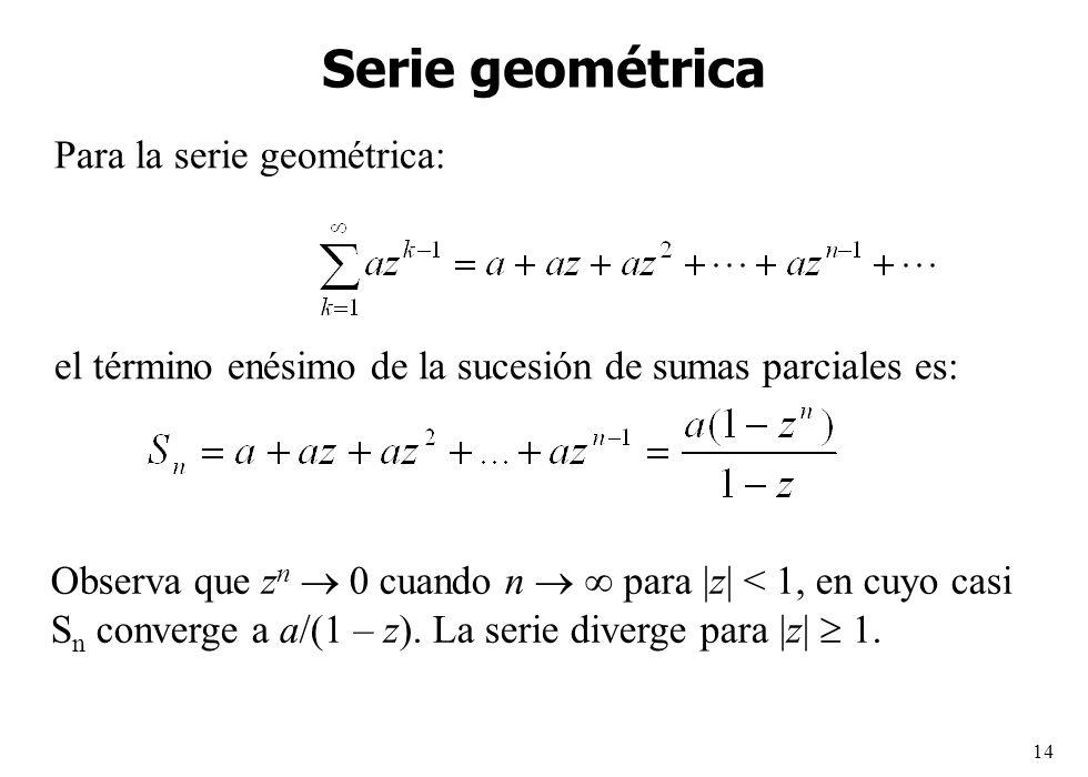 Serie geométrica Para la serie geométrica: el término enésimo de la sucesión de sumas parciales es: