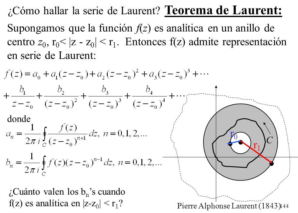¿Cómo hallar la serie de Laurent Teorema de Laurent: