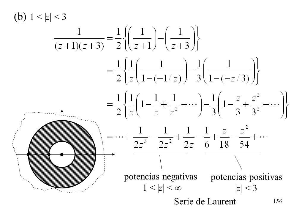 (b) 1 < |z| < 3 potencias negativas potencias positivas