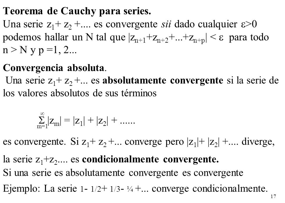 Teorema de Cauchy para series.