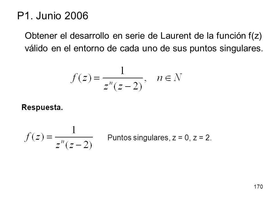 P1. Junio 2006 Obtener el desarrollo en serie de Laurent de la función f(z) válido en el entorno de cada uno de sus puntos singulares.