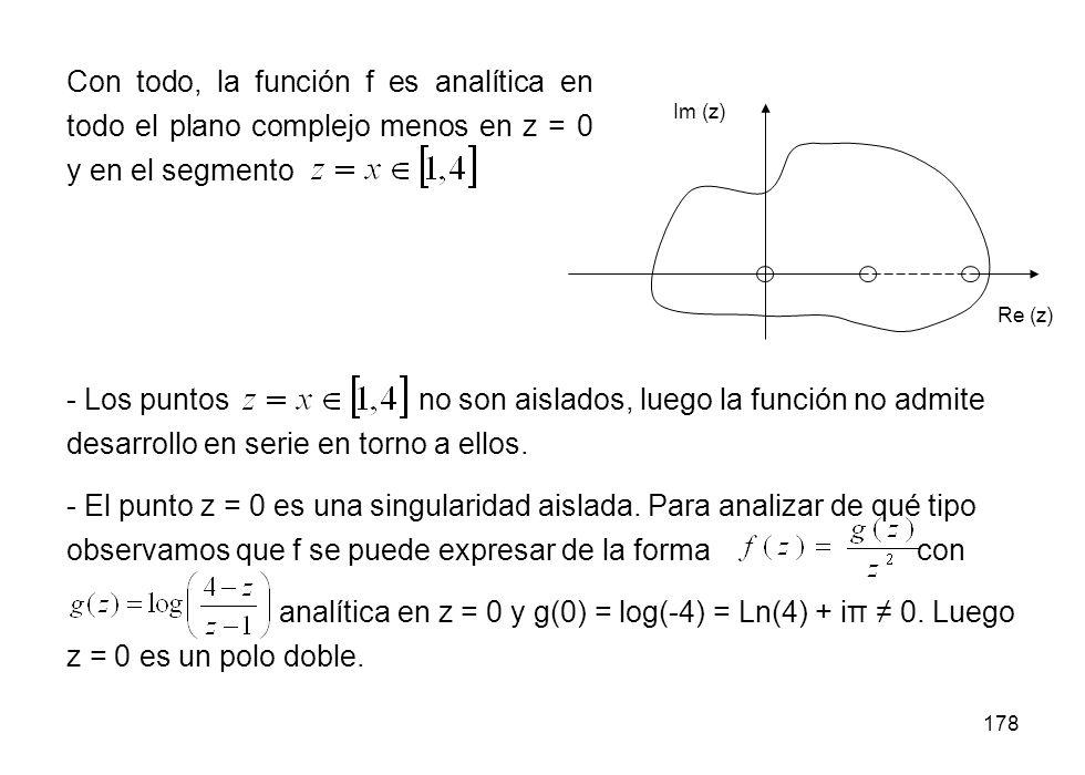 Con todo, la función f es analítica en todo el plano complejo menos en z = 0 y en el segmento