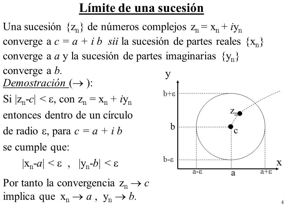 Límite de una sucesión Una sucesión {zn} de números complejos zn = xn + iyn. converge a c = a + i b sii la sucesión de partes reales {xn}