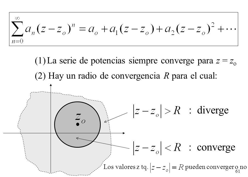La serie de potencias siempre converge para z = zo
