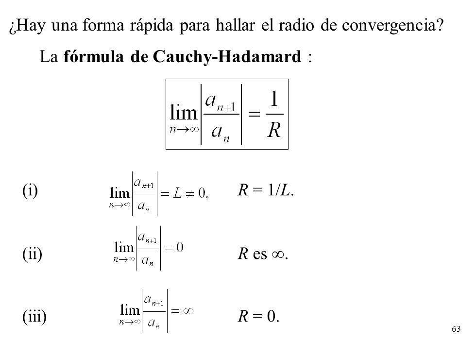 (i) R = 1/L. (ii) R es . (iii) R = 0.