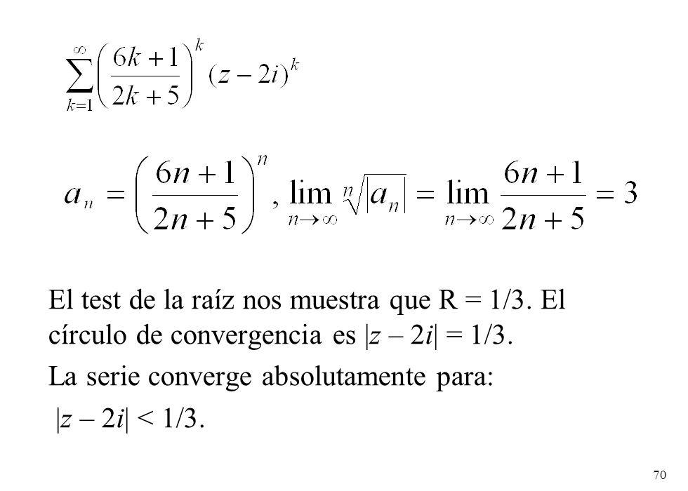 El test de la raíz nos muestra que R = 1/3