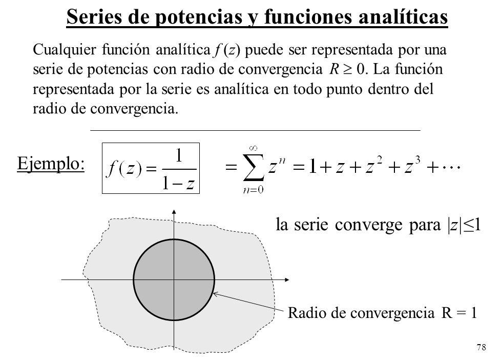 Radio de convergencia R = 1