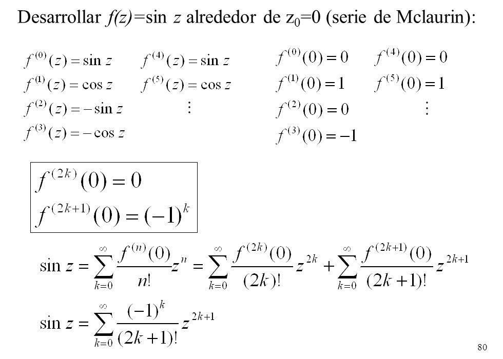 Desarrollar f(z)=sin z alrededor de z0=0 (serie de Mclaurin):