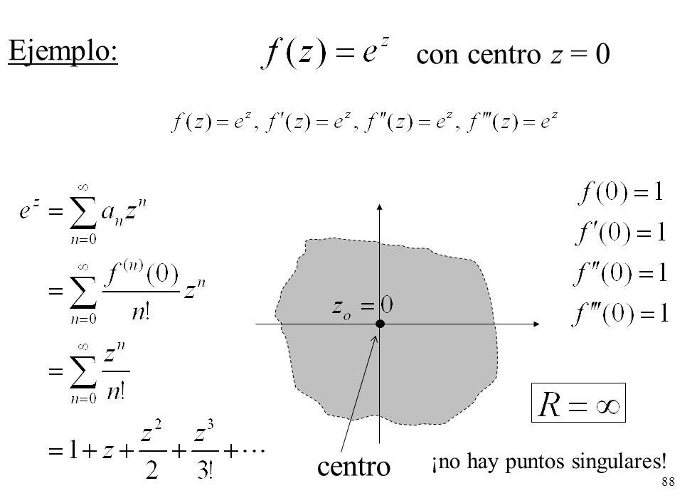 Ejemplo: con centro z = 0 centro ¡no hay puntos singulares!