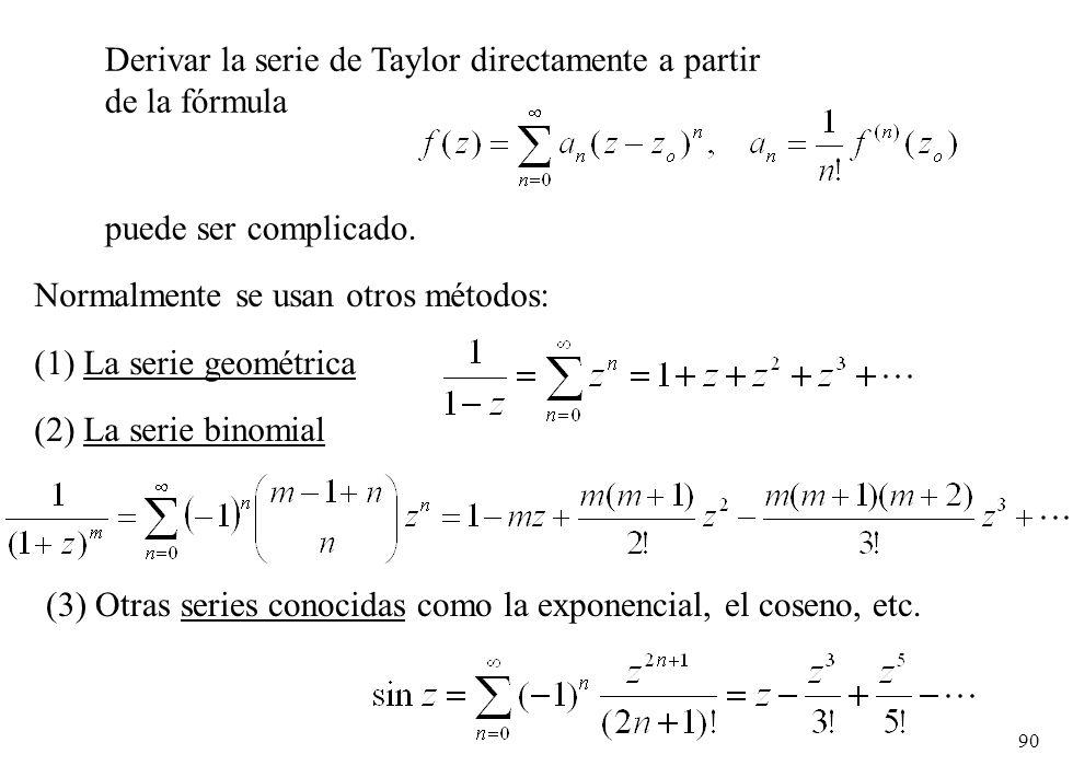 Derivar la serie de Taylor directamente a partir