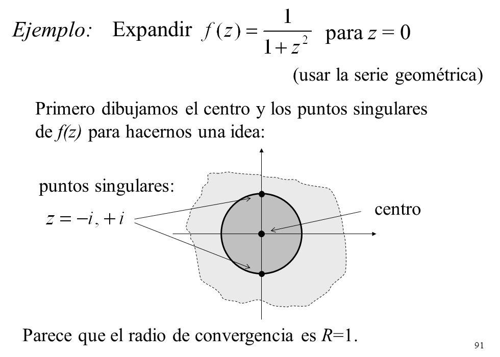 Ejemplo: Expandir para z = 0 (usar la serie geométrica)