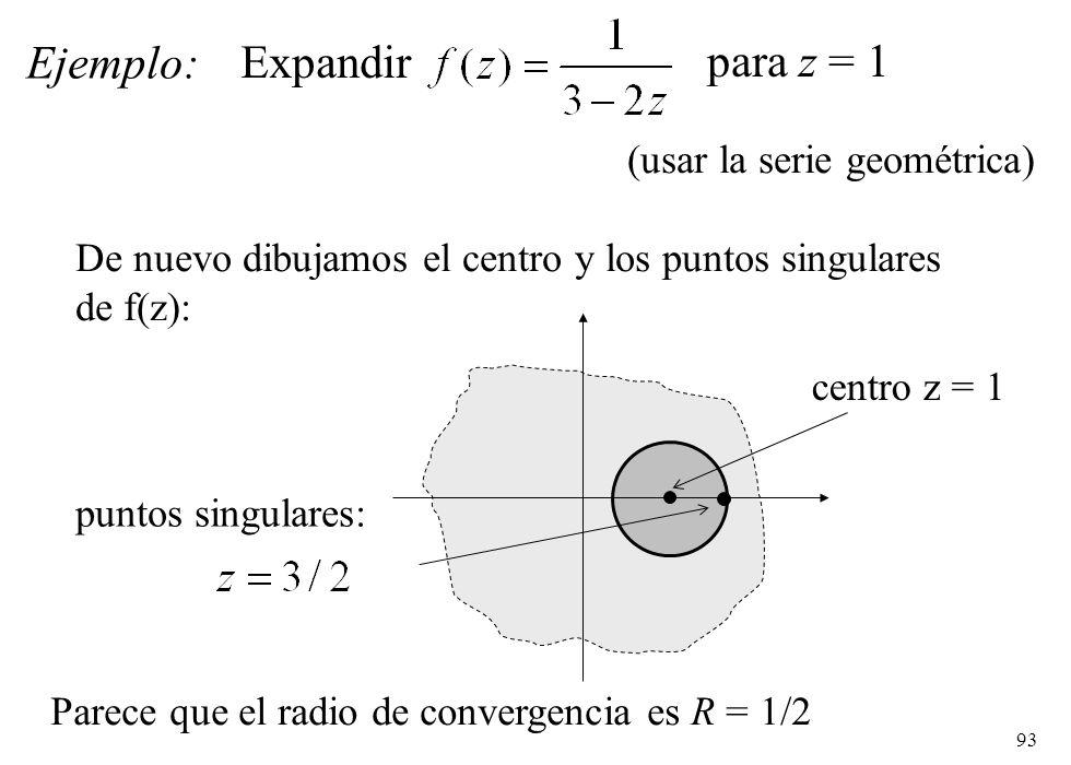 Ejemplo: Expandir para z = 1 (usar la serie geométrica)