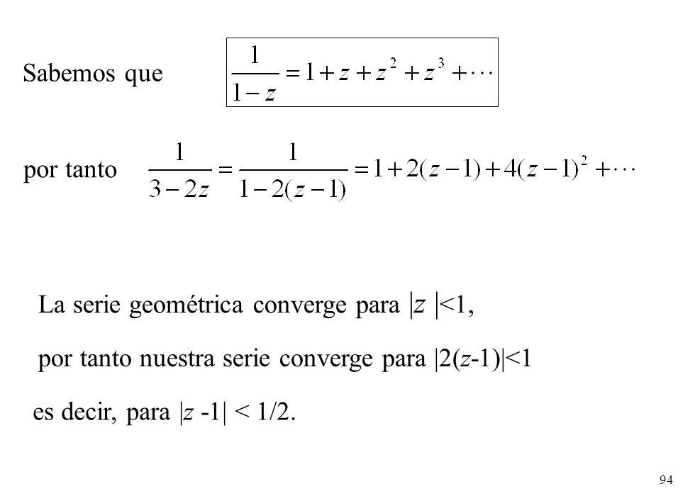 Sabemos que por tanto. La serie geométrica converge para |z |<1, por tanto nuestra serie converge para |2(z-1)|<1.