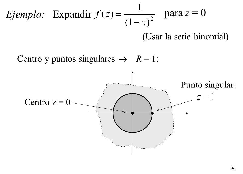 para z = 0 Ejemplo: Expandir (Usar la serie binomial)