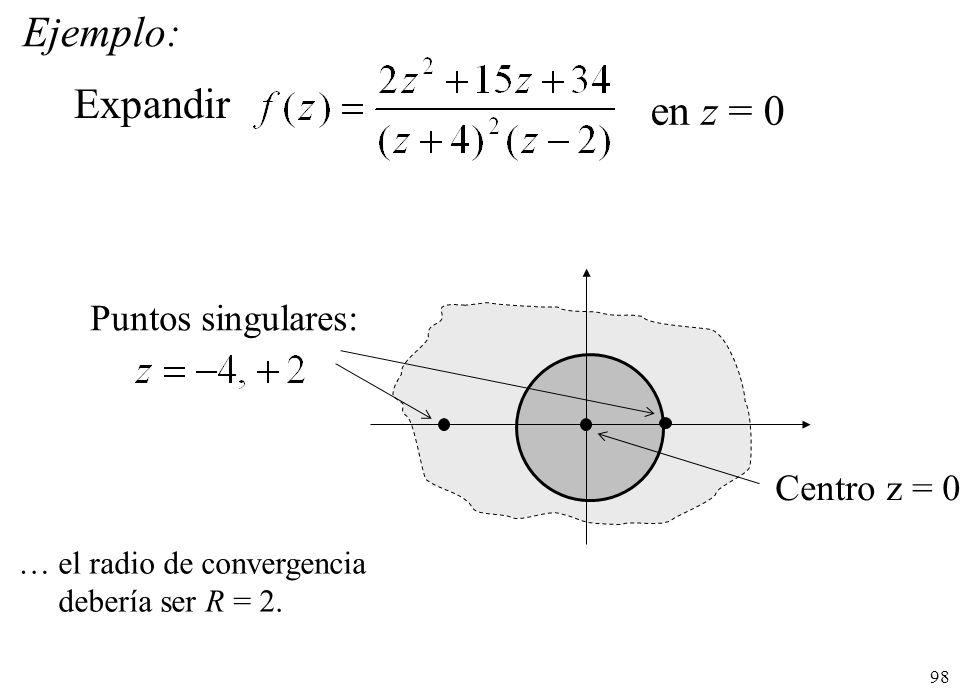 Ejemplo: Expandir en z = 0 Puntos singulares: Centro z = 0