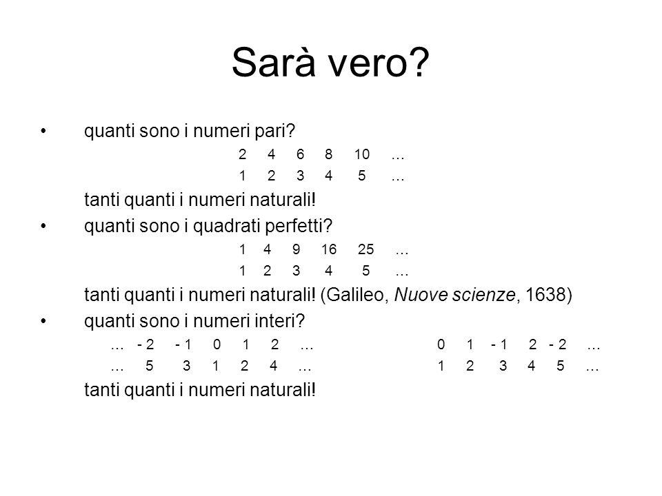 Sarà vero quanti sono i numeri pari tanti quanti i numeri naturali!