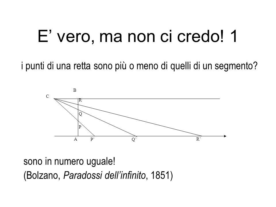 E' vero, ma non ci credo! 1 i punti di una retta sono più o meno di quelli di un segmento A. P. Q.