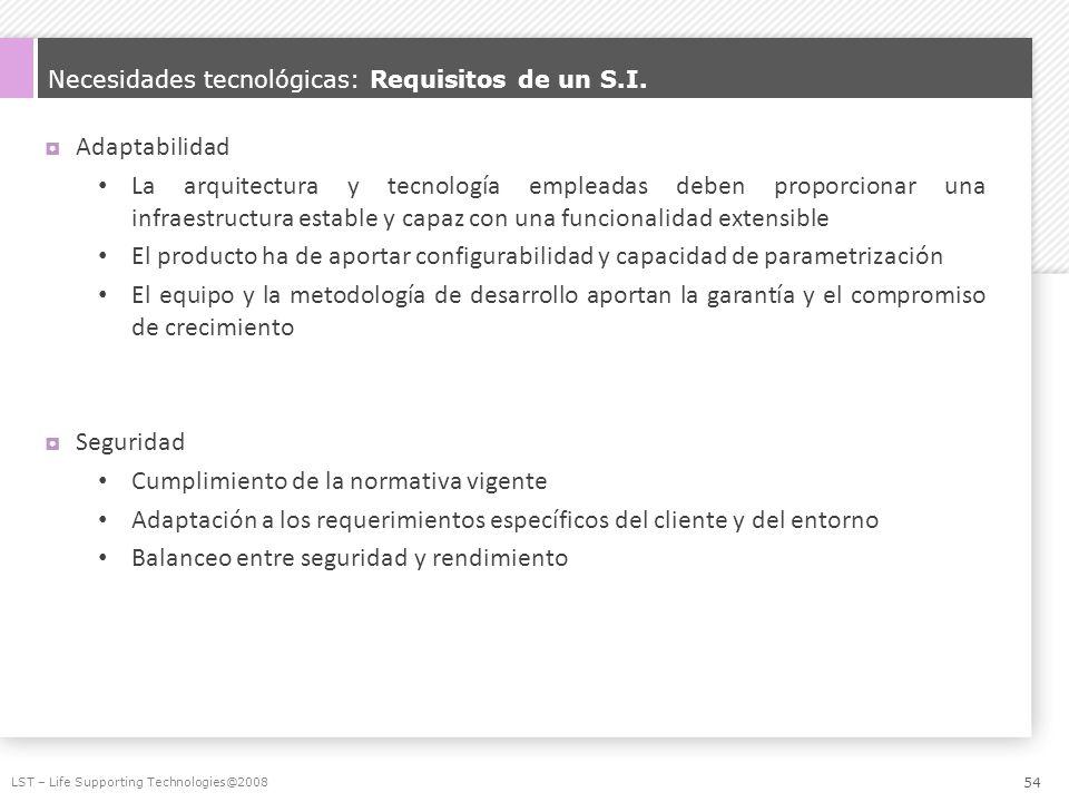 Necesidades tecnológicas: Requisitos de un S.I.