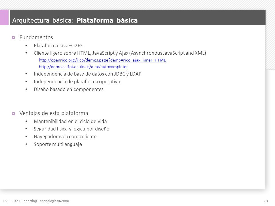 Arquitectura básica: Plataforma básica