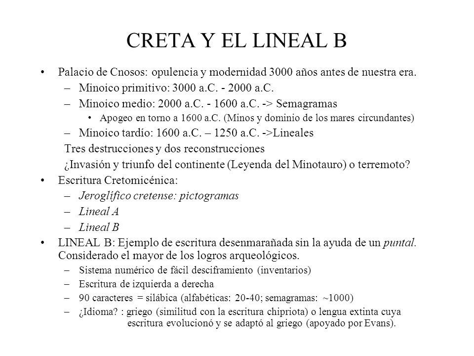 CRETA Y EL LINEAL B Palacio de Cnosos: opulencia y modernidad 3000 años antes de nuestra era. Minoico primitivo: 3000 a.C. - 2000 a.C.