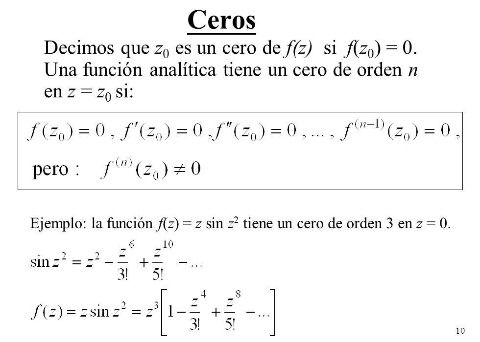 Ceros Decimos que z0 es un cero de f(z) si f(z0) = 0. Una función analítica tiene un cero de orden n en z = z0 si: