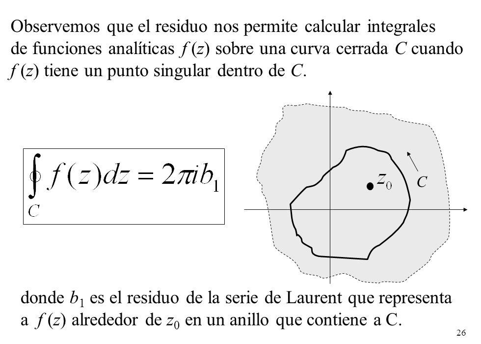 Observemos que el residuo nos permite calcular integrales