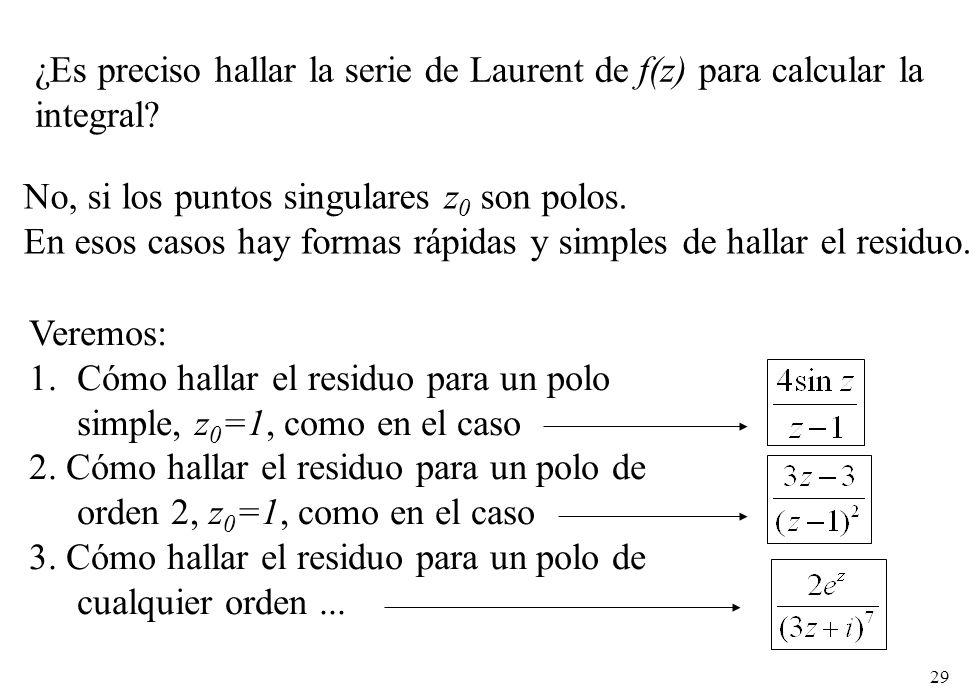 ¿Es preciso hallar la serie de Laurent de f(z) para calcular la integral