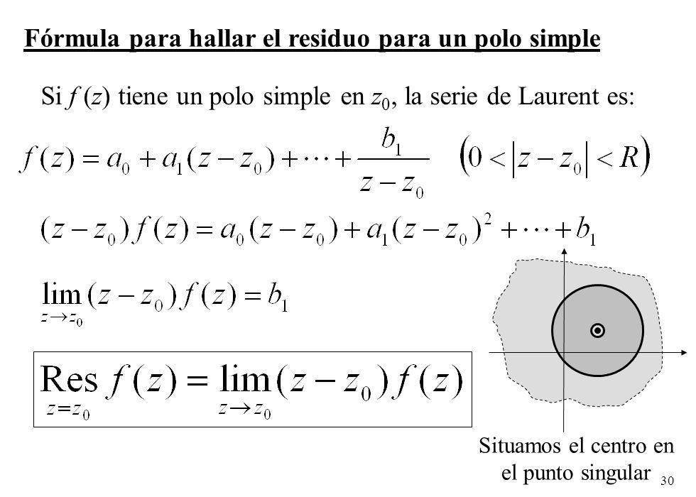 Fórmula para hallar el residuo para un polo simple