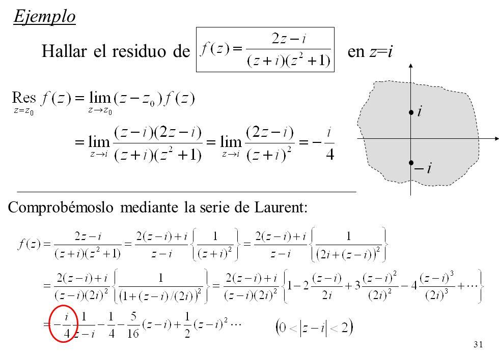 Hallar el residuo de en z=i