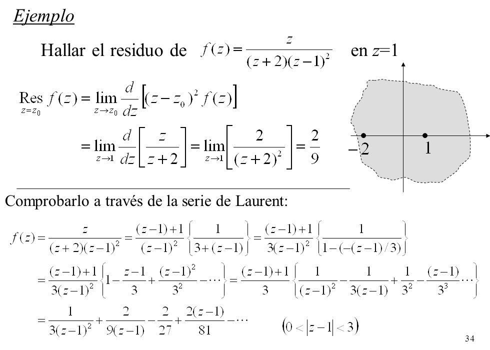 Hallar el residuo de en z=1