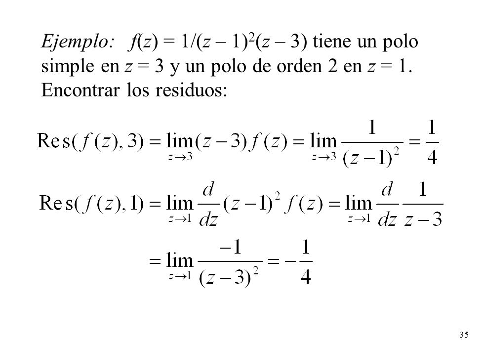 Ejemplo: f(z) = 1/(z – 1)2(z – 3) tiene un polo simple en z = 3 y un polo de orden 2 en z = 1.