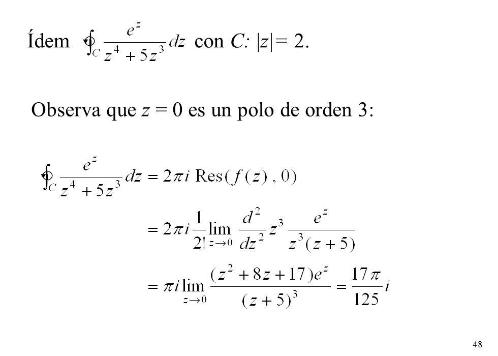Ídem con C: |z|= 2. Observa que z = 0 es un polo de orden 3: