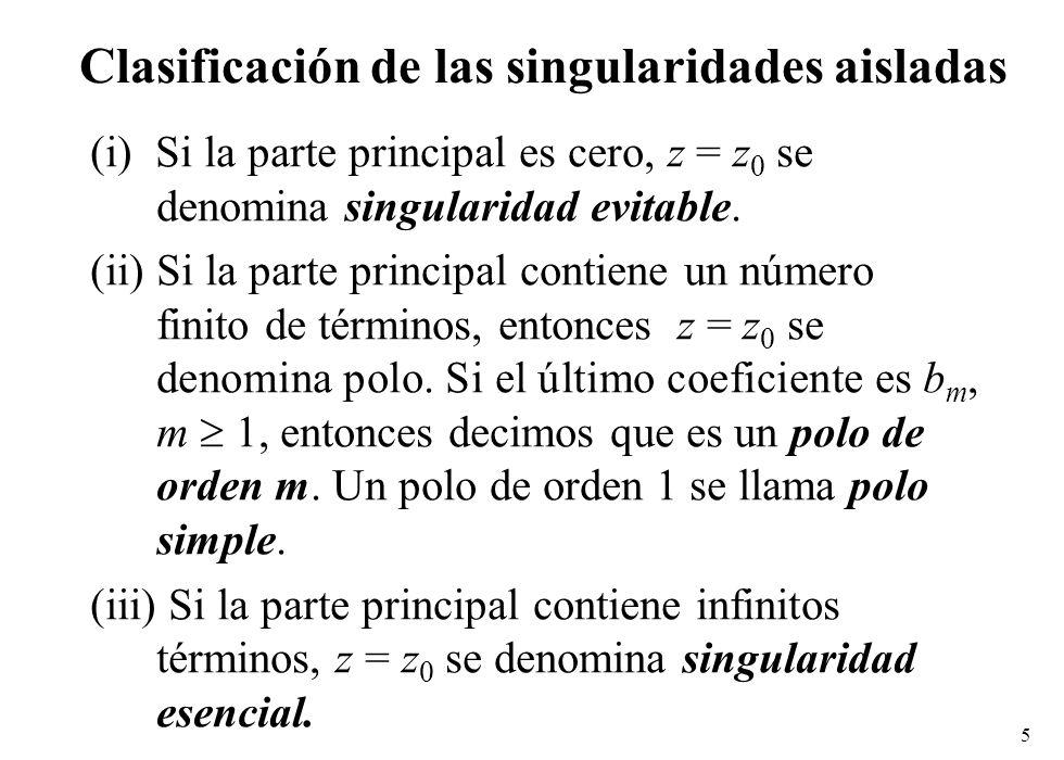 Clasificación de las singularidades aisladas