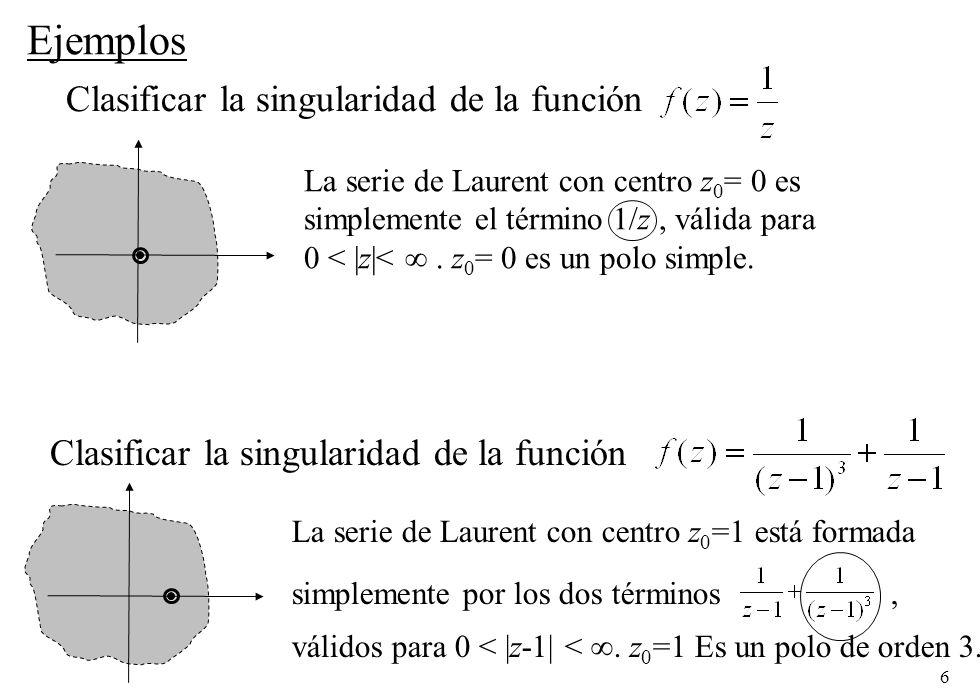 Ejemplos Clasificar la singularidad de la función