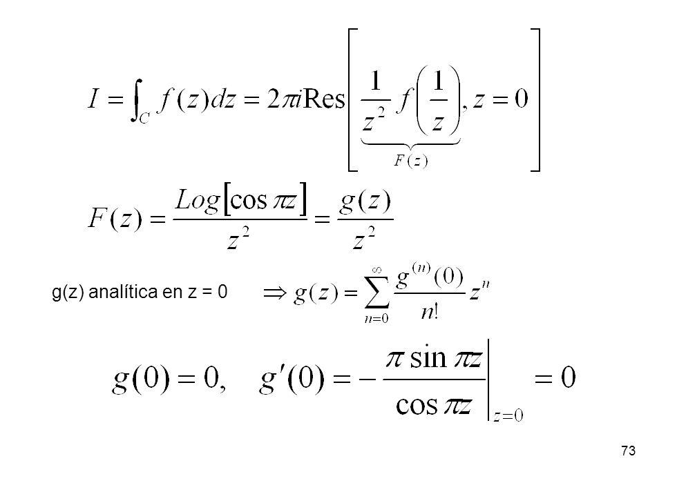 g(z) analítica en z = 0