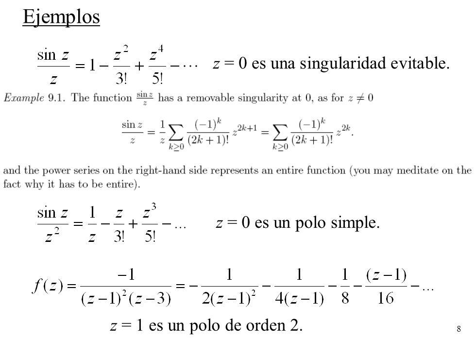 Ejemplos z = 0 es una singularidad evitable. z = 0 es un polo simple.