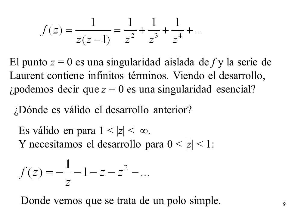 El punto z = 0 es una singularidad aislada de f y la serie de Laurent contiene infinitos términos. Viendo el desarrollo, ¿podemos decir que z = 0 es una singularidad esencial