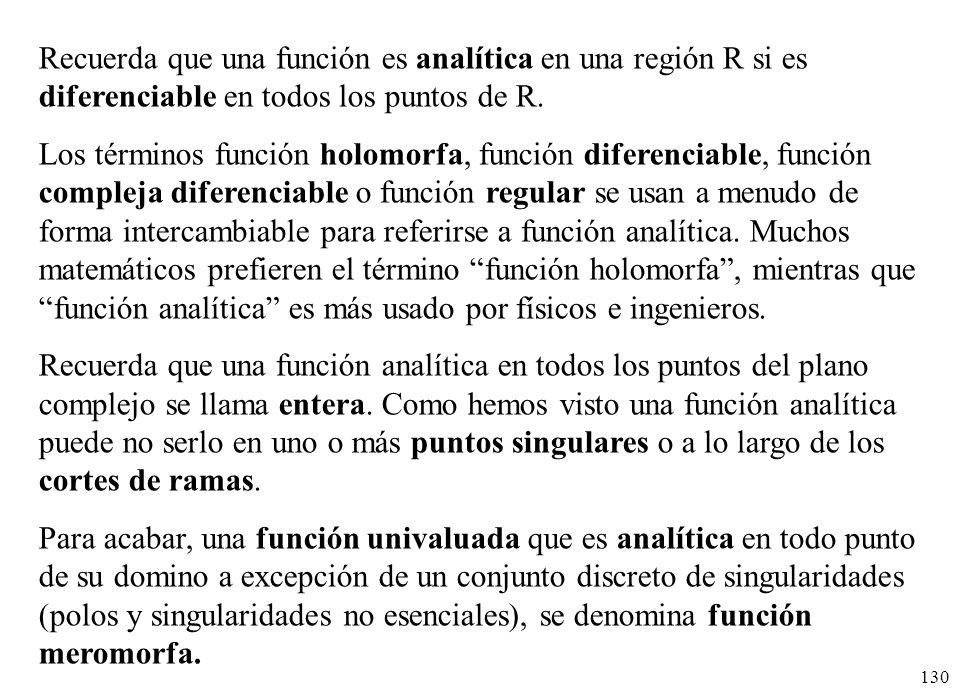 Recuerda que una función es analítica en una región R si es diferenciable en todos los puntos de R.