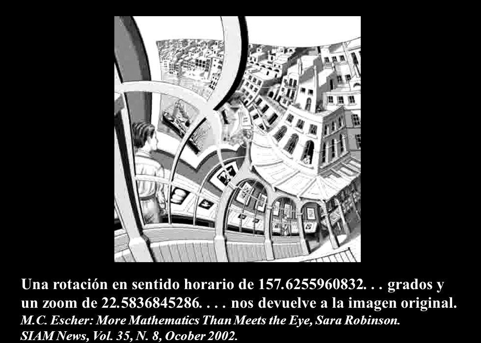 Una rotación en sentido horario de 157.6255960832. . . grados y