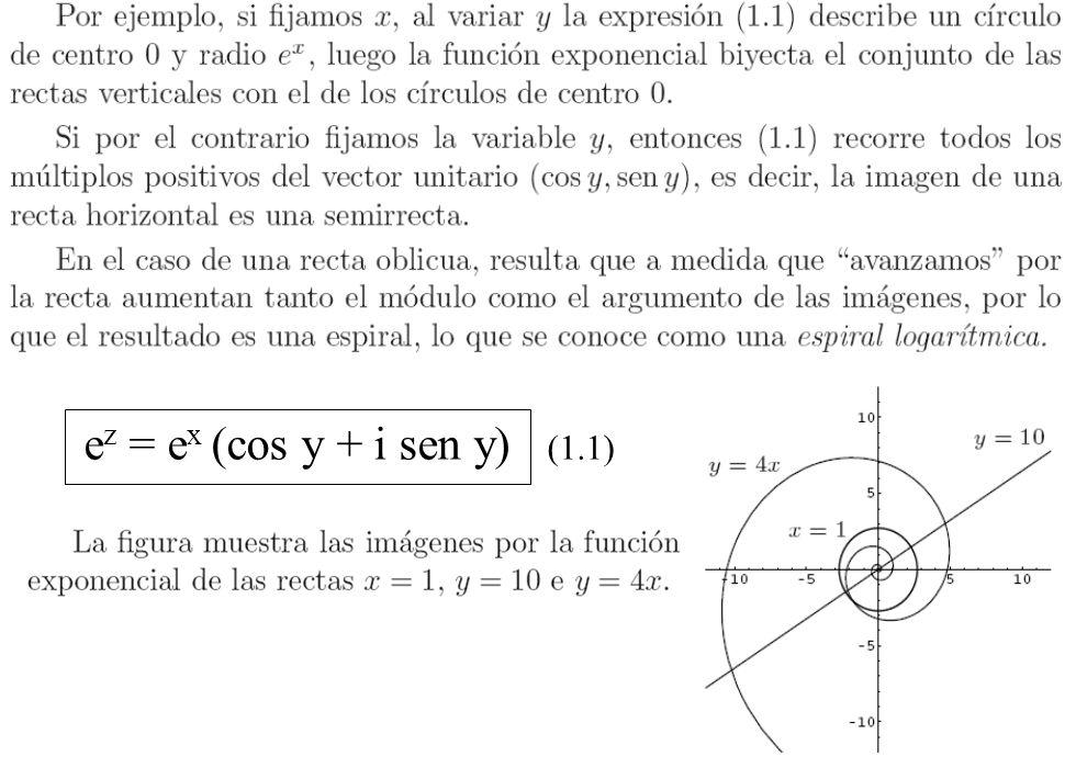 ez = ex (cos y + i sen y) (1.1)