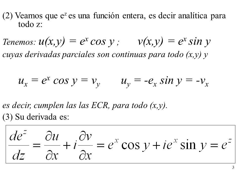 ux = ex cos y = vy uy = -ex sin y = -vx