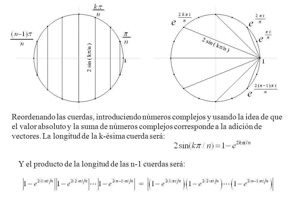 Y el producto de la longitud de las n-1 cuerdas será: