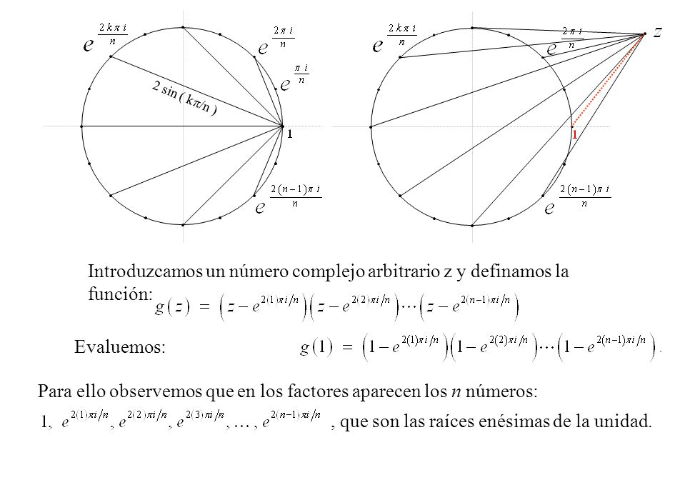Introduzcamos un número complejo arbitrario z y definamos la función: