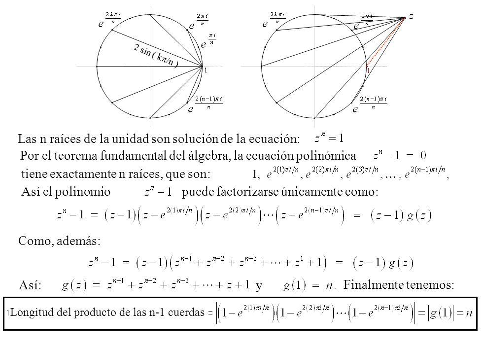 Longitud del producto de las n-1 cuerdas