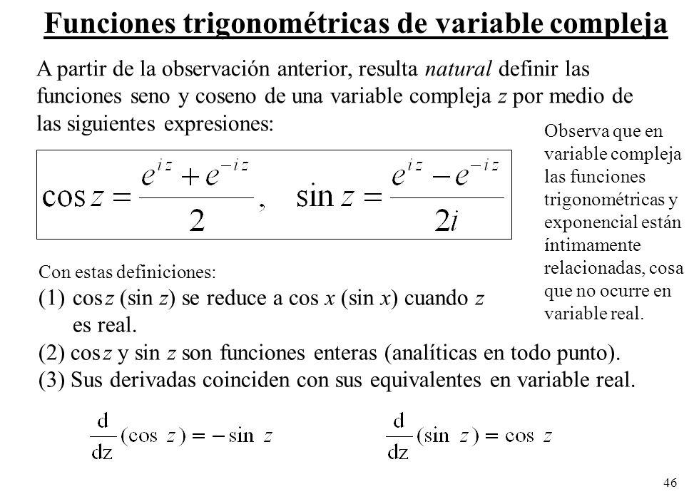 Funciones trigonométricas de variable compleja